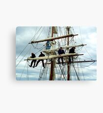 Rigging the mainsail-Hobart Canvas Print