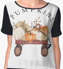 Fall Pumpkins in Wagon Chiffon Top