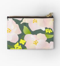 Pale Pink and Yellow Flowers Studio Pouch