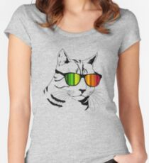 Cool Cat Mirror Rainbow Shades.  Women's Fitted Scoop T-Shirt