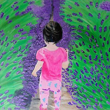 Kind auf Lavendelfeldern der Liebe von IvysCraftShop