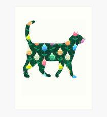 Green Teardrop cats Art Print