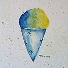 Snow Cone Watercolor Painting Ice Cream Popsicle Still Life Kitchen Art by Pamela Burger