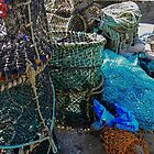 Lobster pots and fishing nets at Port Isaac, Cornwall by hans peðer alfreð olsen