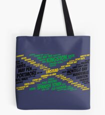 Jamaica Flag with City Names Word Art Tote Bag