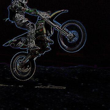 Glowing Rainbow Edges Graphic Dirt Bike Rider by HeavenOnEarth