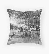 Nikola Tesla History  Throw Pillow