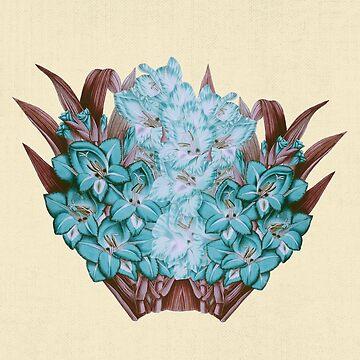 Aqua Blue Gladiolus Blumen und Chocolate Brown Gras Laub Spray Anordnung von Saburkitty