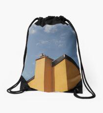 Yellow Building Against Blue Sky, Piran Drawstring Bag
