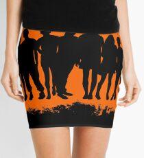 Boy child orange and black silhouette Mini Skirt