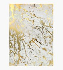 Gold marble on white (original height quality print) Photographic Print
