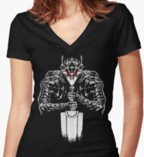 Black Swordsman Women's Fitted V-Neck T-Shirt