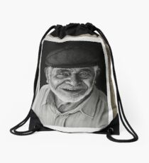 old man Drawstring Bag