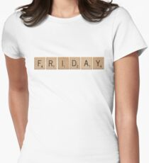 Wood Scrabble Friday! Womens Fitted T-Shirt