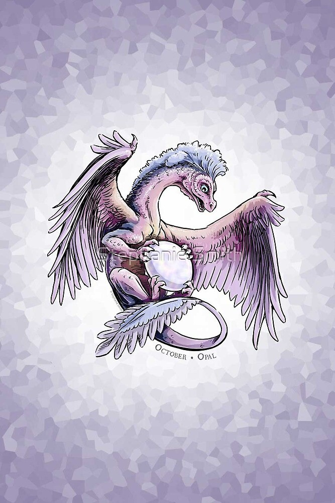 Birthstone Dragon: October Opal Illustration by Stephanie Smith
