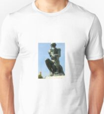 The Thinker by Rodin front view Unisex T-Shirt