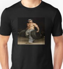 """Tire Shop Laborer, 'Free Mounting and Balancing with Purchase!"""" Unisex T-Shirt"""