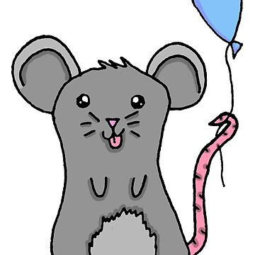 Adorable Kawaii Mouse with Balloon  by SharkaSplat