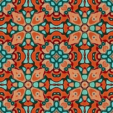Red Brown Orange Turquoise Teal Blue Hip Orient Bali Art  by FudgePudge