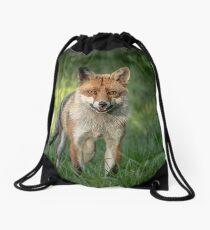 Alert red fox Drawstring Bag