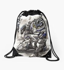 Mass Effect Garrus Sumie style with Japanese Calligraphy Drawstring Bag