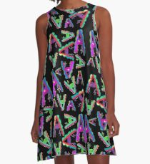 THE LETTER A - 2018- 40 DAY CHALLENGE - HAND DRAWN - GRAHIC ALPHABET  A-Line Dress