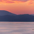 In the Scale of Things, a lone fishing boat on Lago Trasimeno at dawn by Andrew Jones