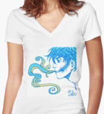 Smoking Lyric Solo Women's Fitted V-Neck T-Shirt