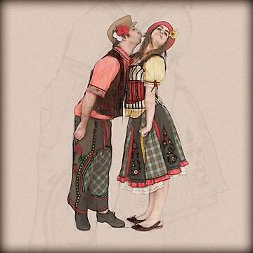 Digitally enhanced image of Innocent kiss by Hansel and Gretel dressed up actors  by PhotoStock-Isra