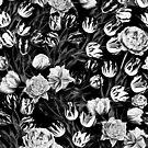 Black & White Floral pattern by Burcu Korkmazyurek