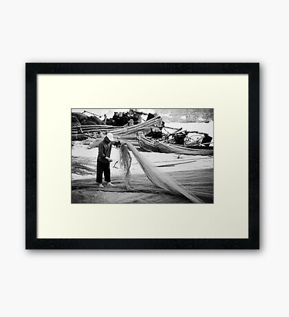 A Fisherman and his Nets - China Framed Print