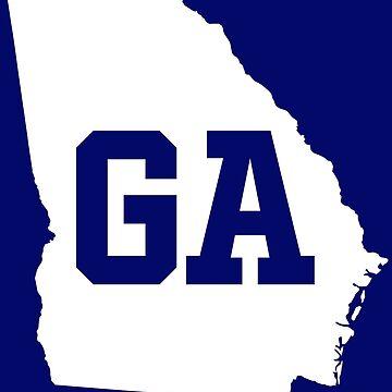 Georgia State Map GA Abbreviation White by Chocodole