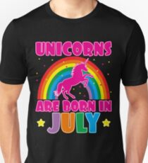 Unicorns Are Born In July T-Shirt Slim Fit T-Shirt