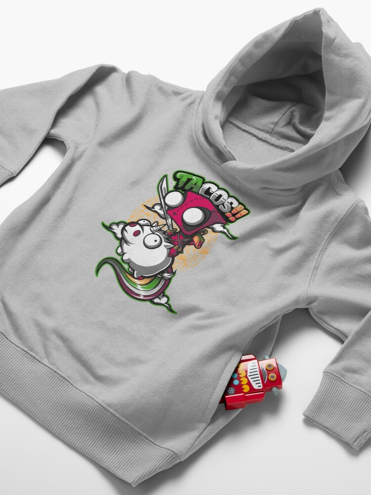 Alternate view of tacos and unicorns  Toddler Pullover Hoodie