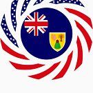 Turks & Caicos American Multinational Patriot Flag Series by Carbon-Fibre Media