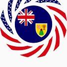 Turks & Caicos Islander American Multinational Patriot Flag Series by Carbon-Fibre Media