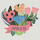 Thinking of You Banner with a Floral Bouquet by Pamela Maxwell