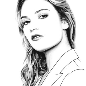 Lily James pencil portrait by wu-wei