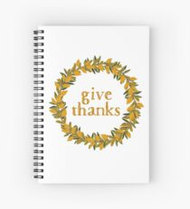 Give Thanks Autumn Fall Wreath Spiral Notebook