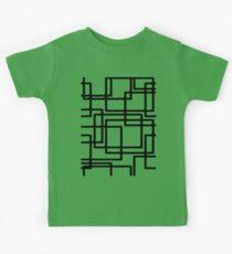 Interlocking Black Squares Artistic Design Kids Tee