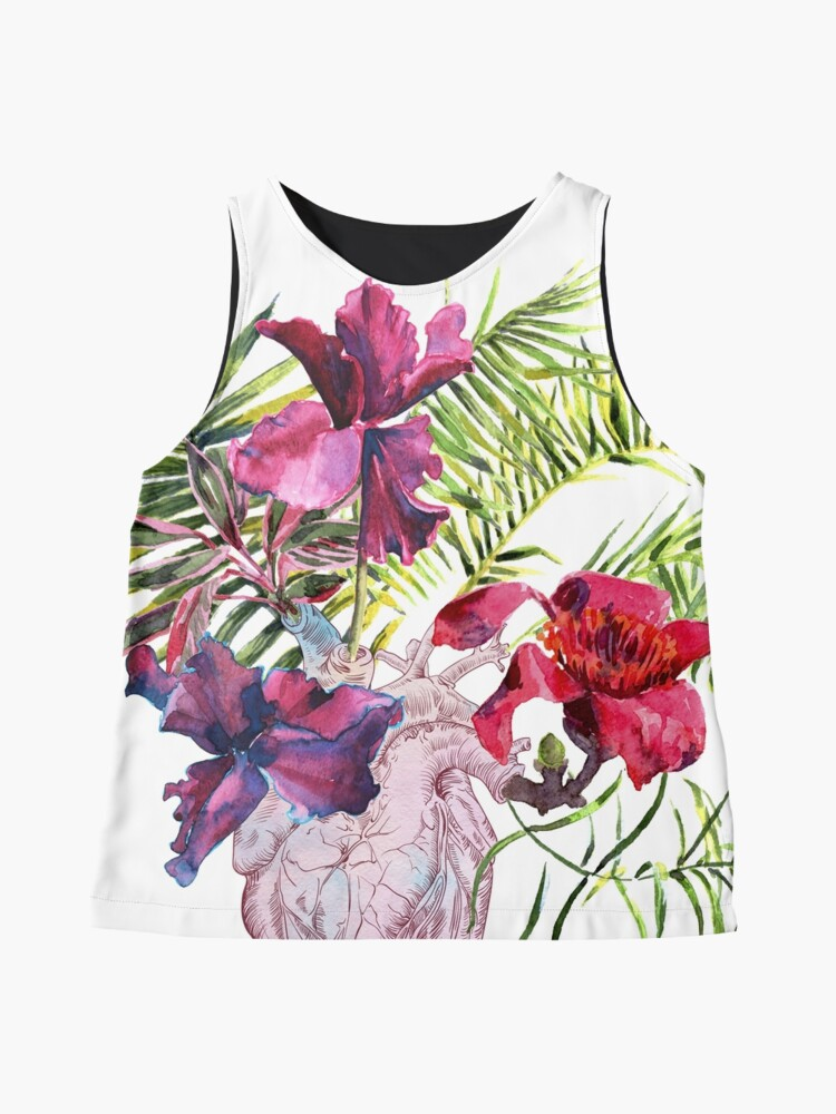 Alternative Ansicht von Menschliches Herz mit Blumen, Anlage und Blatt, Aquarell Ärmelloses Top