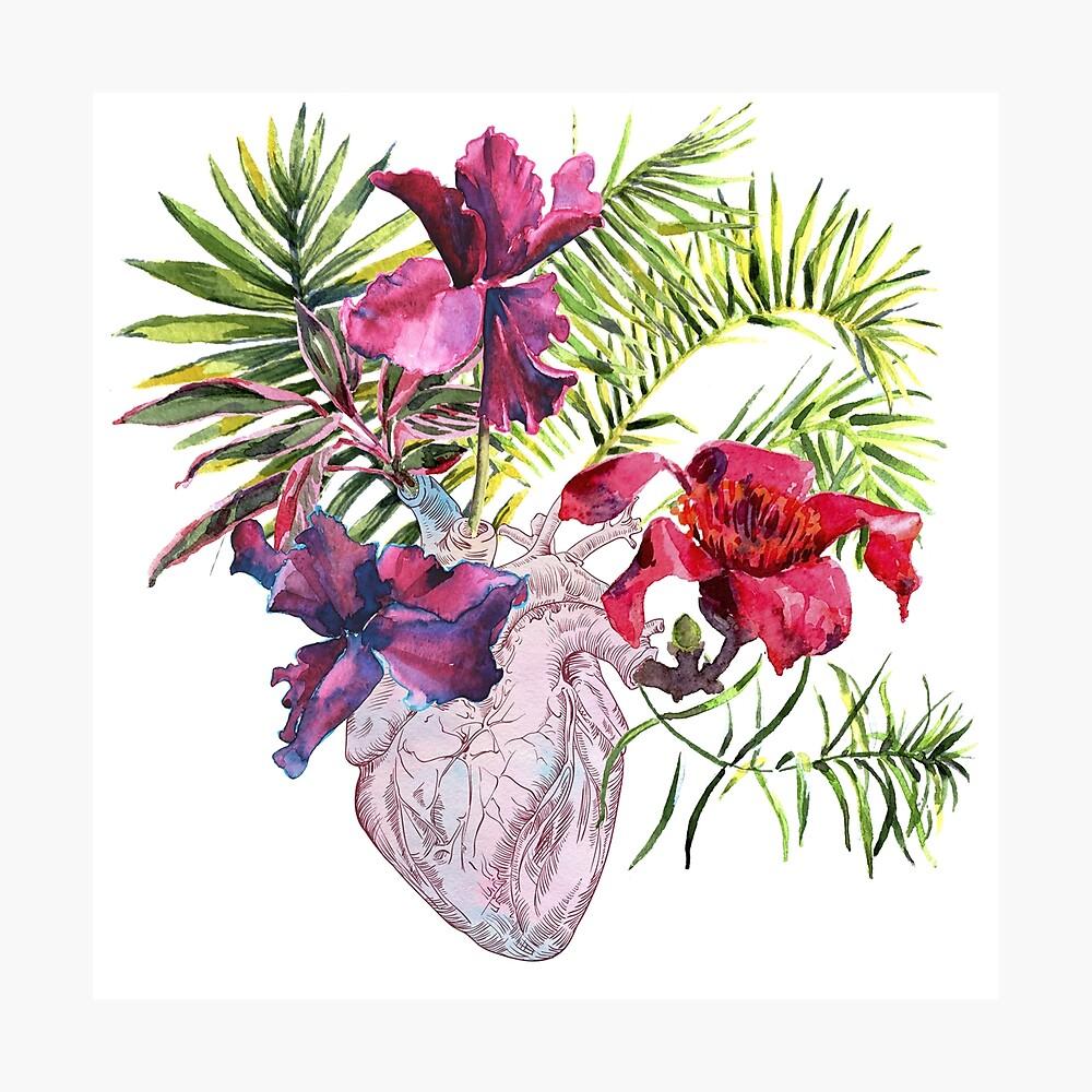 Menschliches Herz mit Blumen, Anlage und Blatt, Aquarell Fotodruck