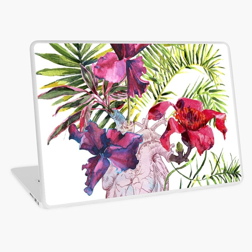 Menschliches Herz mit Blumen, Anlage und Blatt, Aquarell Laptop Folie