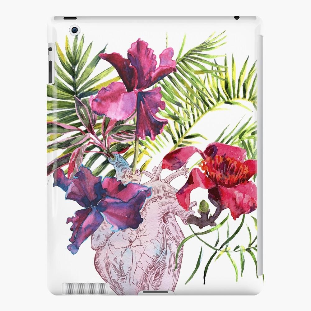 Menschliches Herz mit Blumen, Anlage und Blatt, Aquarell iPad-Hülle & Skin