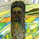145 - THE GREEN MAN (INSPIRED BY STEVE WALTERS' CARVING) - DAVE EDWARDS - WATERCOLOUR - 2005 by BLYTHART