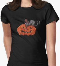 Jack O' Lantern Cat Women's Fitted T-Shirt