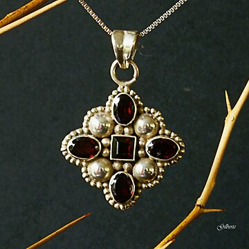 Rubies in silver pendant by Gilberte