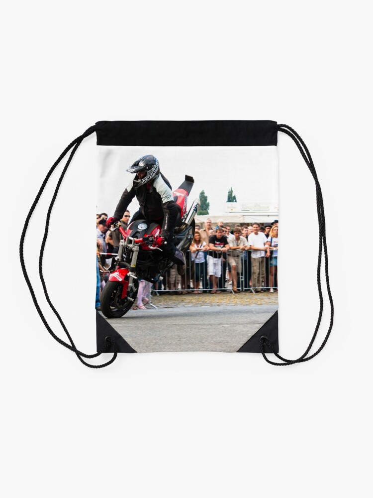 Alternate view of motorcycle stunt 005 Drawstring Bag