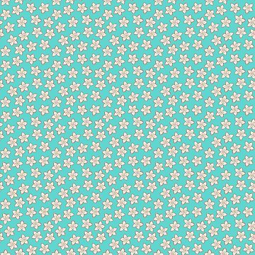 Small Cream Flowers on Turquoise by MelFischer