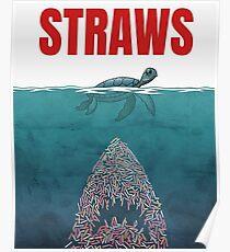 Straws - shark Poster